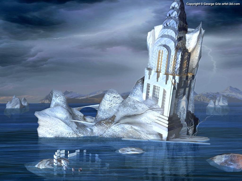 Modern surrealism fantasy art 3d pictures george grie 3d for Architecture fantastique