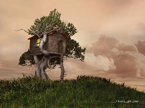 Tree house by b jerome 3d digital art fantasy art for 3d wallpaper of house