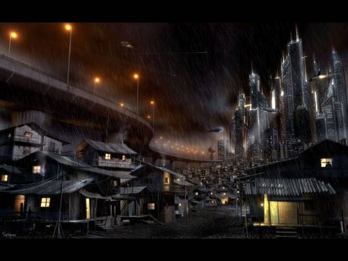 Dark city by L. Menabe, 3D Digital Art, Science Fiction