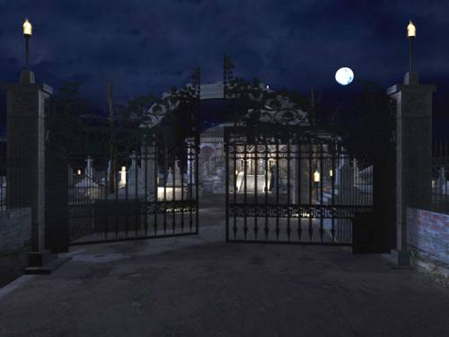 cemetery at night. Wallpaper image: Cemetery Gate