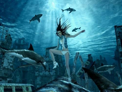 Wallpaper image: Waggon, Fantasy Art, Mixed Media, adult, aqua, azure