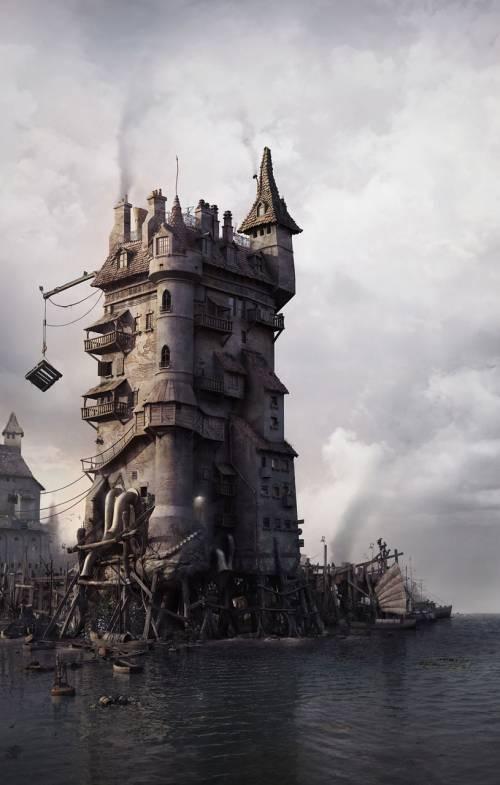 Harbour by aleksandar jovanovic 3d digital art fantasy art for Castle design software