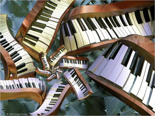 Wallpaper image: Surreal Piano III, Abstract, 3D Digital Art,