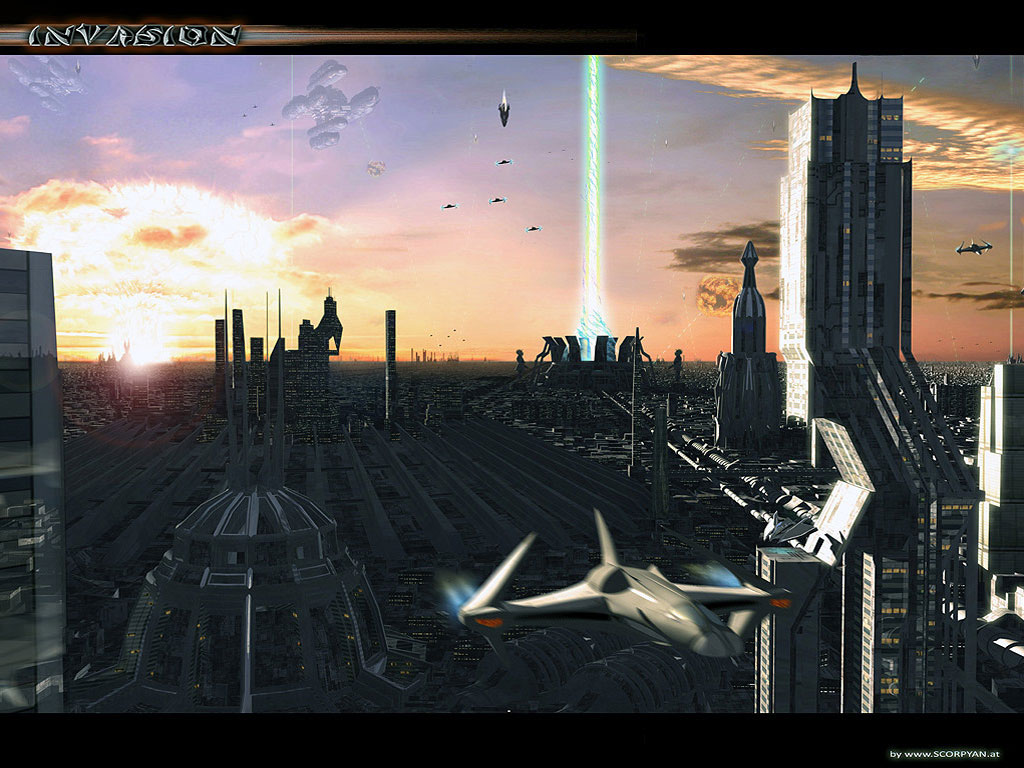 Invasion sci fi 1024 x 768pix wallpaper science fiction for Outer space urban design