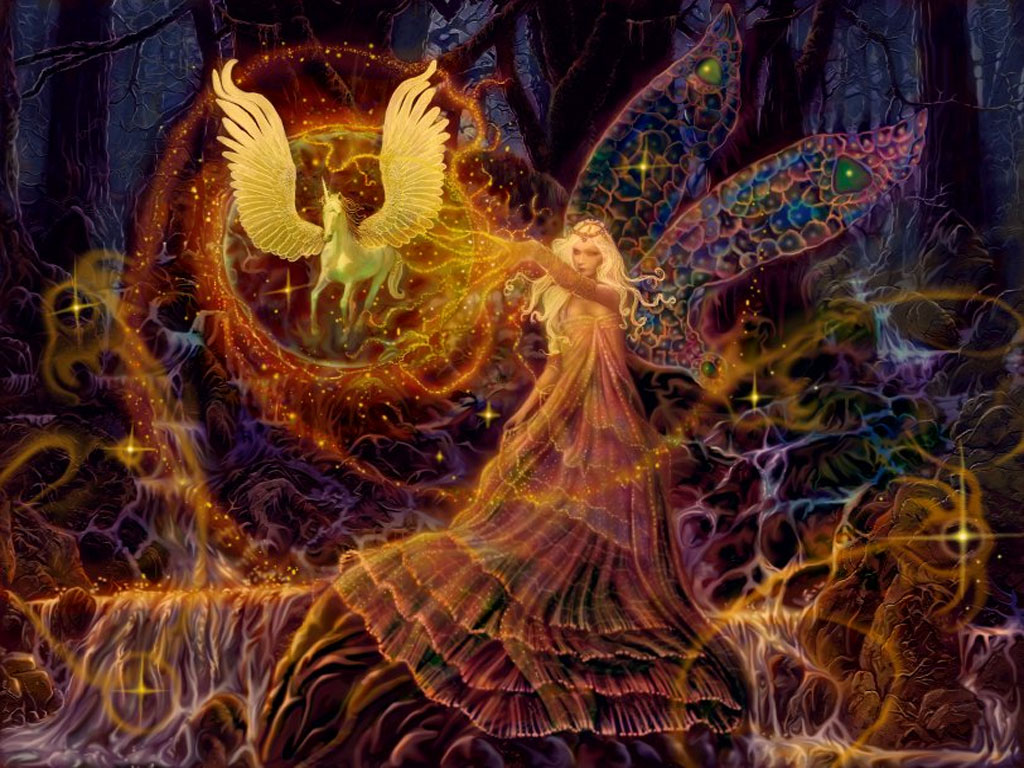 Free computer desktop wallpaper:The Fairy Spell, Mixed Media, Fantasy Art,