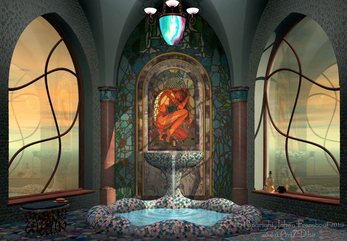 Bathroom 1150 x 799pix wallpaper fantasy art 3d digital art for Bathroom 3d wallpaper