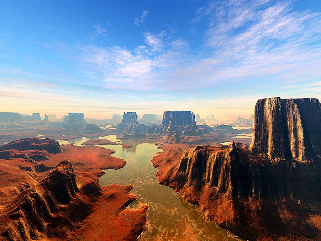 Free Computer Desktop WallpaperUnspecified Digital Landscape 3D Art Nature Mountains
