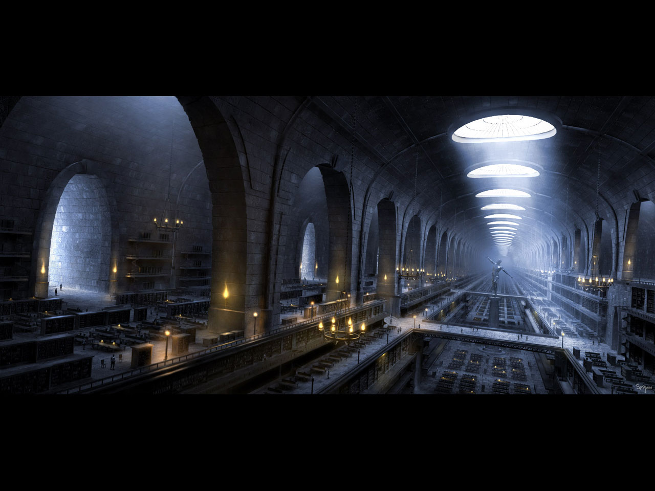 Library, 1280 x 960pix wallpaper Science Fiction, 3D ...