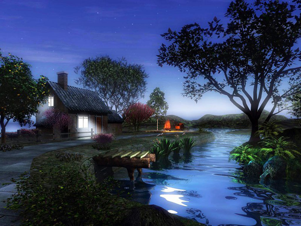 Beautiful village at night fantasy digital art