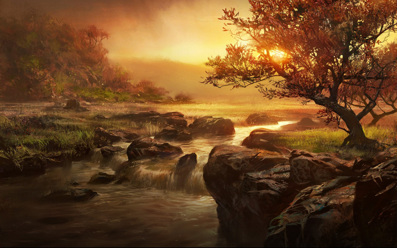 Sunset river concept 1280 x 800pix wallpaper nature 2d for Artiste nature