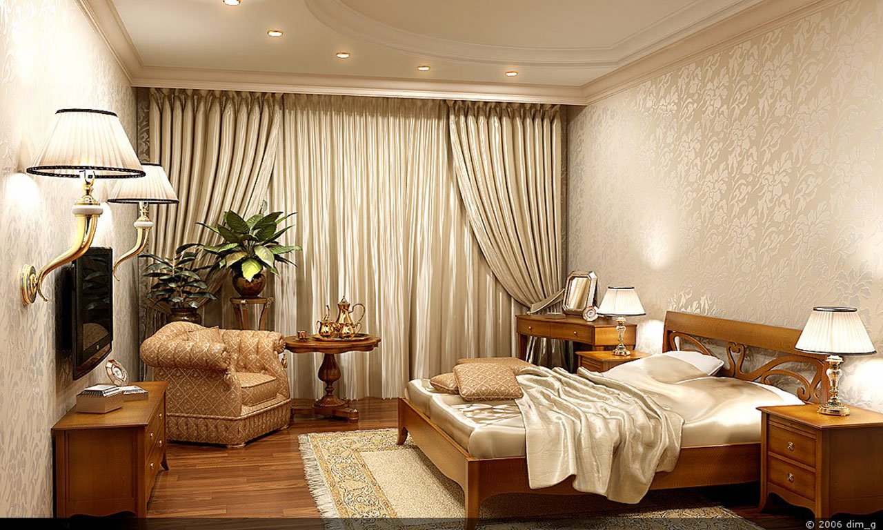 Bedroom interior 1280 x 768pix wallpaper mixed style 3d for Bedroom 3d wallpaper
