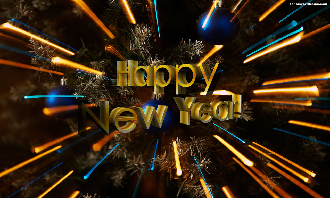 desktop wallpaper:Happy New Year wishes computer wallpaper, 3D