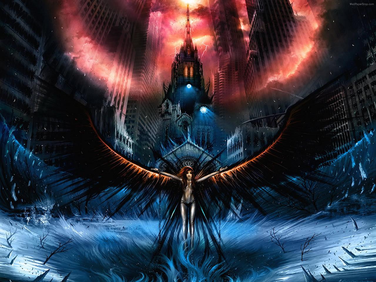 The Dark Angel Descent 1280 X 960pix Wallpaper Fantasy Art 2d