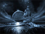 Wallpaper image: Ghost ship series: Full moon rising, 3D Digital Art