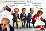 Wallpaper image: cartoon. Putin undermines the foundations of the world order, Photo Manipulation