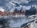 Wallpaper image: Frozen lake view, 3D Digital Art